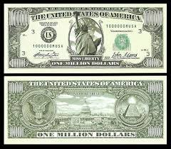 the traditional one million dollar bill