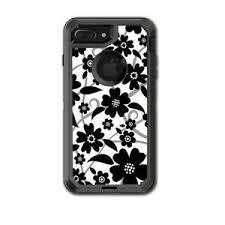 Skin Decal For Otterbox Defender Iphone 7 Plus Case Black White Flower Print 648620444479 Ebay