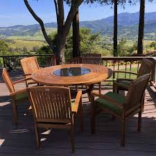 pc teak outdoor round dining table set