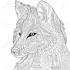 Gestileerde Cartoon Wolf Geisoleerd Op Een Witte Achtergrond