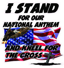 I Stand For Our National Anthem And Kneel For The Cross Version 2 Decal Nostalgia Decals Patriotic Vinyl Graphics Nostalgia Decals Online