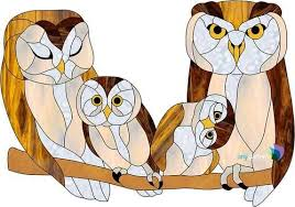 owl family freeform stained glass