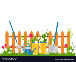 Garden Cart With Flower Pots Near Fence Royalty Free Vector