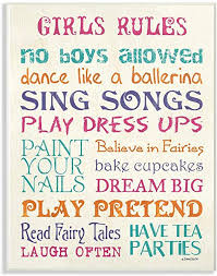 Amazon Com The Kids Room By Stupell Pink Teal Orange And Purple Girls Rules Wall Plaque Art 10 X 15 Multi Color Baby