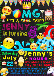 Emoji Pool Party Birthday Invitation Emoji Invitation Emoji