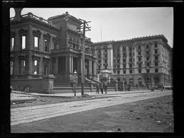 James Flood Mansion and Fairmont Hotel after earthquake and fire ...