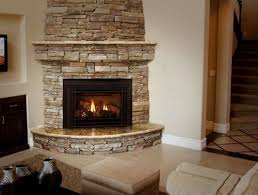 hearth with stacked stone