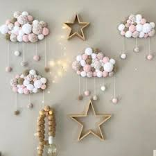 Plush Pompom Ball Cloud Raindrop Wall Hanging Ornaments Baby Kids Room Decor Ebay