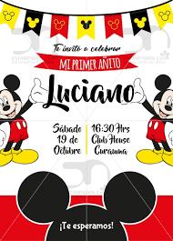 Invitacion Digital Cumpleanos Mickey Mouse 1 000 En Mercado Libre