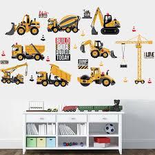 Cartoon Excavator Construction Wall Decals Baby Boy Nursery Kids Room Stickers Walmart Com Walmart Com