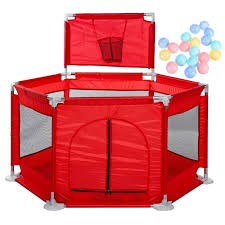 Portable Baby Playpen Play Yard Interactive Baby Playinghouse Kids Safety Fence Ocean Ball Pit Pool For Baby Indoors Outdoors Playing Red Maca Blue Navy Blue Pink Walmart Com Walmart Com