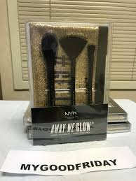 nyx away we glow 3 piece brush set