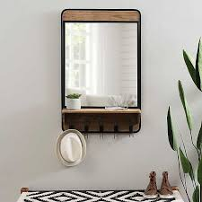 wooden wall mirror with shelf and hooks