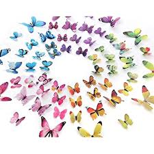 Amazon Com Eoorau 60pcs Butterfly Wall Decor For Wall 3d Butterflies Wall Stickers Removable Mural Decals Home Decoration Kids Room Bedroom Decor 5colors Home Kitchen