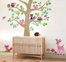 Woodland Forest Animals And Tree Wall Decal Deer Bambi Owls Hedgehog Squirrels Ebay