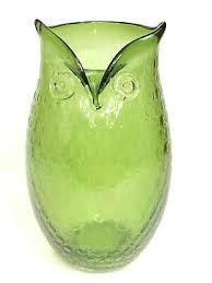 vintage blenko large owl vase pitcher