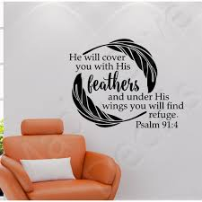 You Will Find Refuge Psalm 91 4 Christian Wall Decal