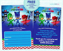 Pj Masks Invitation Printable Free Mask Invitations Pj Masks