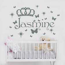 Princess Name Wall Decal Crown Decal Girls Name Sticker Nursery Decor Ma57