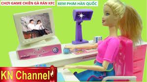 Đồ chơi trẻ em MÁY VI TÍNH BÚP BÊ BARBIE Trò chơi nấu ăn gà rán ...