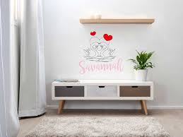 Personalized Name Swan In Love Wall Decal Sticker Nursery For Home Decor Krafmatics