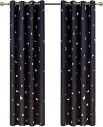 Amazon Com Blackout Curtains With Gold Star Moon Print For Kids Room Grommet Thermal Insulated Window Curtains For Nursery Bedroom 2 Panels 63 Inch Lengh Black Set Curtain By Gd Furniture Decor