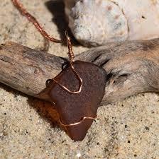 chestnut brown irish sea glass pendant