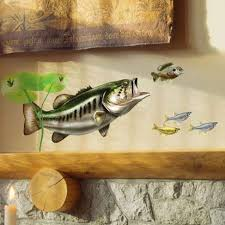 Amazon Com Wall Decals Largemouth Bass Golden Shiners Minnows Lily Pads Bold Wall Art Rht Facing Lrg Home Kitchen