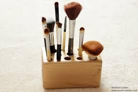 diy makeup brush holder wrinkled chiffon