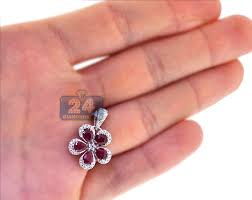 flower halo pendant 14k white gold 2 33ct
