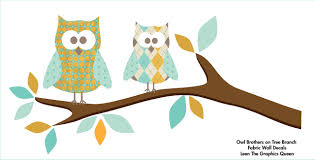 Owl Brothers Wall Decals On Tree Branch Fabric Wall Decal