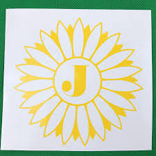 Amazon Com Sunflower Monogram Initial Vinyl Decal New Gift Handmade