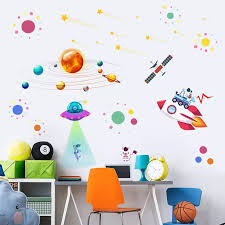 The Solar System Wall Stickers Kids Rooms Space Astronaut Wall Stickers Bedroom Living Room Home Decorative Stickers Enfant Fdh Wall Stickers Aliexpress