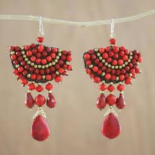 glass bead fan shaped dangle earrings