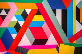 نمط ورق الجدران هندسي ملون خطوط أشكال تجريد فن حديث