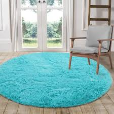 Amazon Com Lochas Luxury Round Fluffy Area Rugs For Bedroom Kids Nursery Rug Super Soft Living Room Home Shaggy Carpet 4 Feet Blue Home Kitchen
