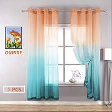 Amazon Com Yzhome Orange And Cyan Sheer Curtains For Kids Room Lovely Multicolor Aqua Teal Ombre Voile Drapes Grommet Faux Linen Curtain For Party Birthday Decoration Supplies 1 Pcs W52 X L84 Orange To Cyan Kitchen