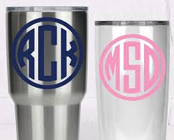 Amazon Com Custom Monogram Yeti Decal Circle Monogram Sticker For Tumbler Your Choice Of Size And Color Handmade