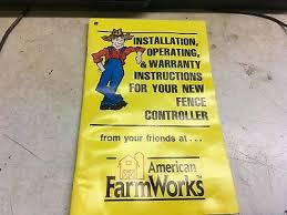 American Farm Works Fence Controller Afw Electric Fencer Operators Manual Ebay