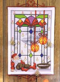 elf in stained glass window advent