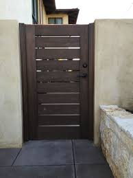 Custom Contemporary Wood Gate With Slatted Body By Garden Passages Wood Gate Backyard Gates House Gate Design