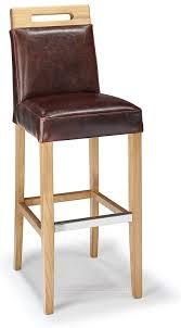 rustic oak bar stool brown aniline leather