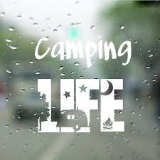 Camping Life Tent Vinyl Art Sticker Motorhome Door Window Glass Decor Camper Decals Rv Travel Trailer Art Mural Decoration Wall Stickers Aliexpress