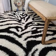 Amazon Com Shag Area Rug 3x5 Zebra Black Ivory Shag Rugs For Living Room Bedroom Nursery Kids College Dorm Carpet By European Made Mh10 Maxy Home Kitchen Dining