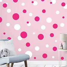 Amazon Com Polka Dot Decals For Girls Room Walls Hot Pink White Home Kitchen