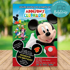 Editable Mickey Mouse Clubhouse Cumpleanos Invitaciones Bricolaje