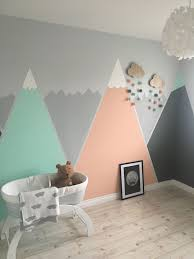 Our Girl S Nursery So Far Peach Grey And Mint Mountains Grey Baby Room Baby Room Colors Baby Boy Rooms