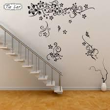Tie Ler Hot Sellings Classical Black Flower Wall Art Living Room Floral Wall Stickers Home Decorations Plant Wall Decals Wall Decals Wall Stickerfloral Wall Stickers Aliexpress