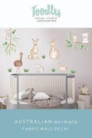 Australian Animal Wall Decal Nursery Cute Kangaroo Fabric Stickers Kids Koala Decor Baby Room Baby Room Wall Art Nursery Decals Nursery Wall Decals Tree