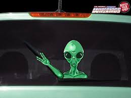 Alien Martian Waving Decal Wipertag For Rear Windshield Wiper Wipertags